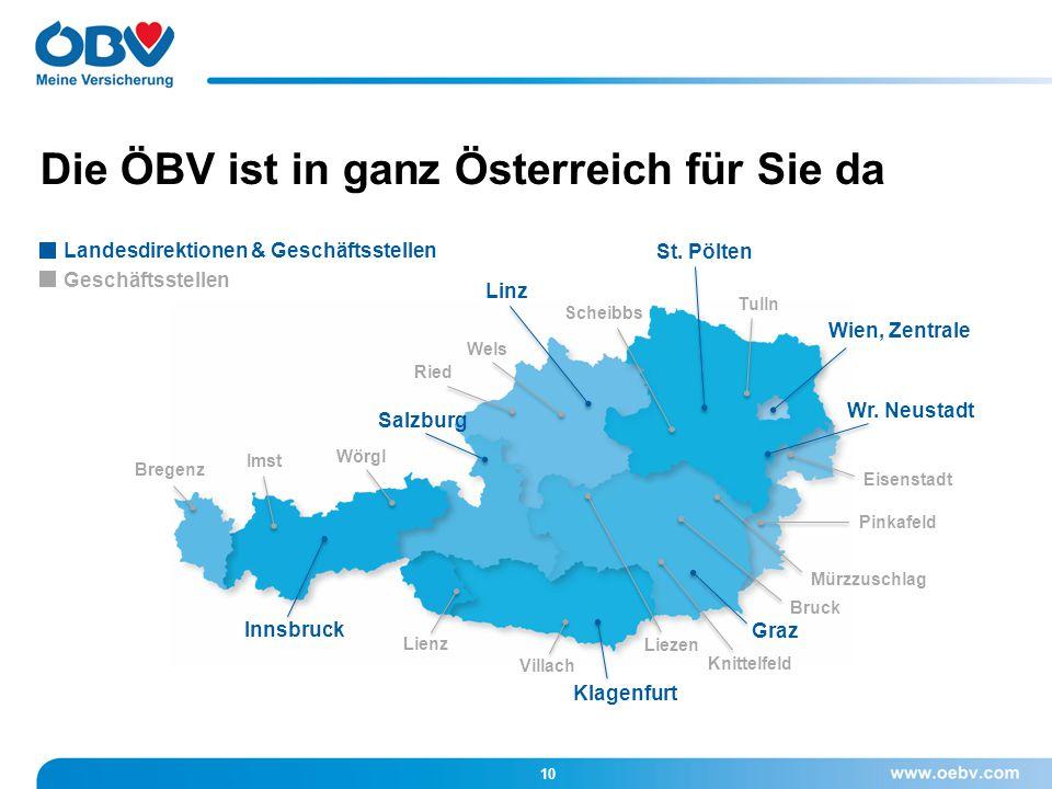 Die ÖBV ist in ganz Österreich für Sie da Wien, Zentrale Wr. Neustadt Graz Klagenfurt Innsbruck St. Pölten Linz Salzburg Villach Lienz Bregenz Liezen
