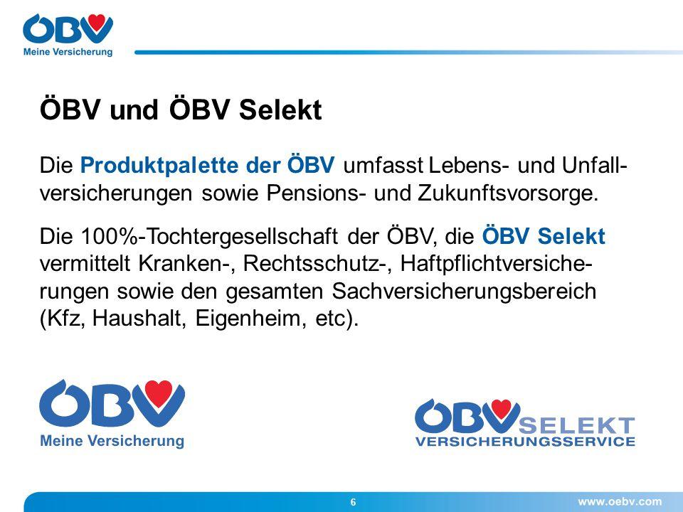 Die Produktpalette der ÖBV umfasst Lebens- und Unfall- versicherungen sowie Pensions- und Zukunftsvorsorge. Die 100%-Tochtergesellschaft der ÖBV, die