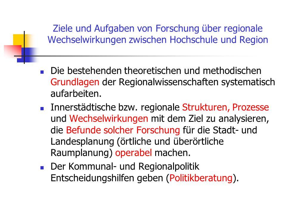 Leitdisziplinen In den Regionalwissenschaften verwendete Theorien und Hypothesen kommen aus mehreren Fächern: Ökonomie, Stadt- und Gemeindesoziologie,
