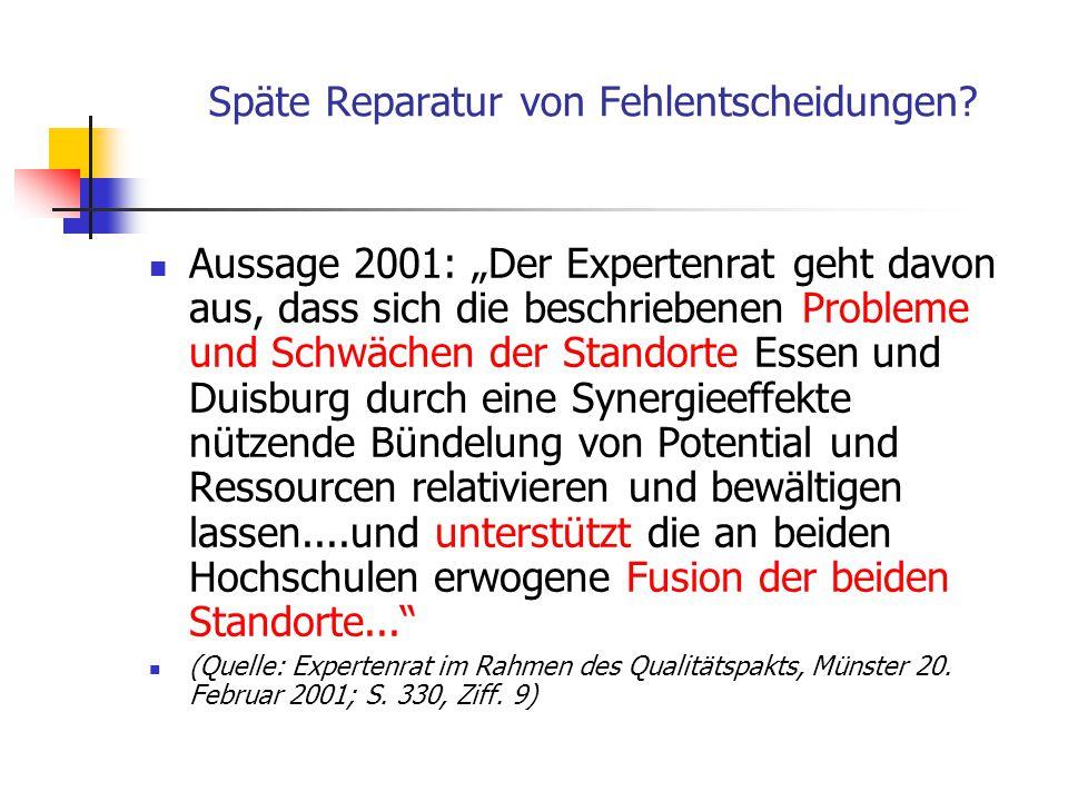 """Auch: Fehlleistungen Raumplanerische Analysen bei Standortwahlen können fehlerhaft sein. Beispiel: Mercator-Universität Duisburg: Aussage 1970: """"Durch"""
