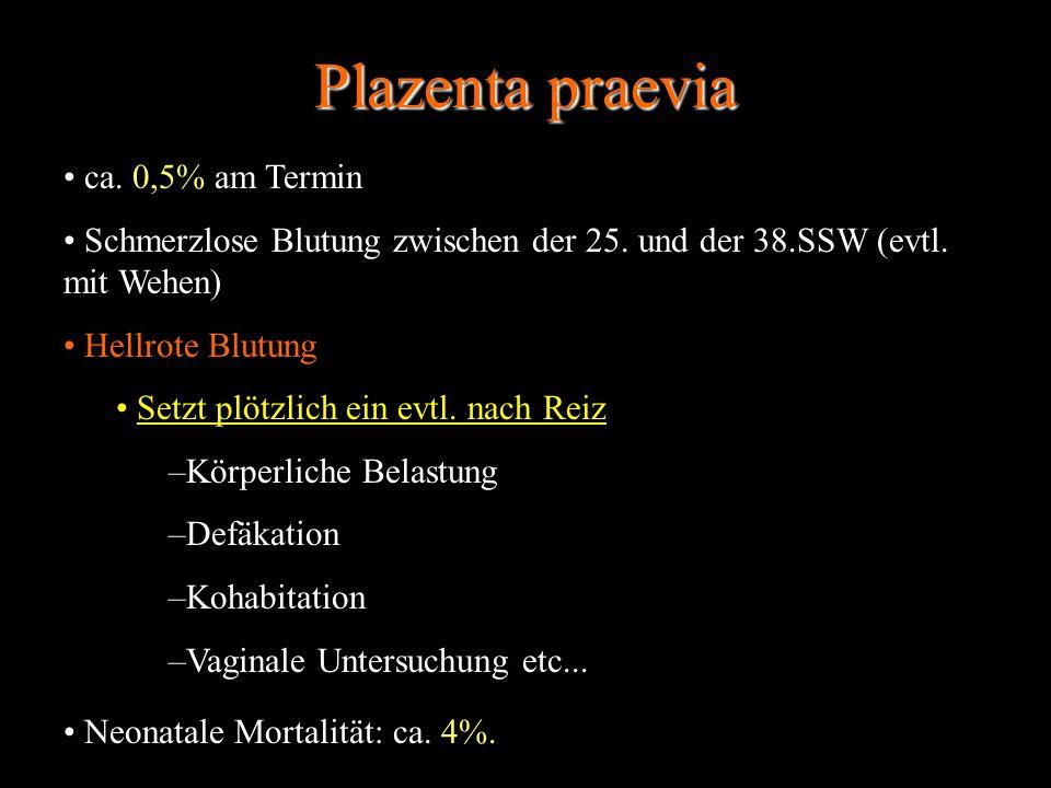 Plazenta praevia ca. 0,5% am Termin Schmerzlose Blutung zwischen der 25. und der 38.SSW (evtl. mit Wehen) Hellrote Blutung Setzt plötzlich ein evtl. n
