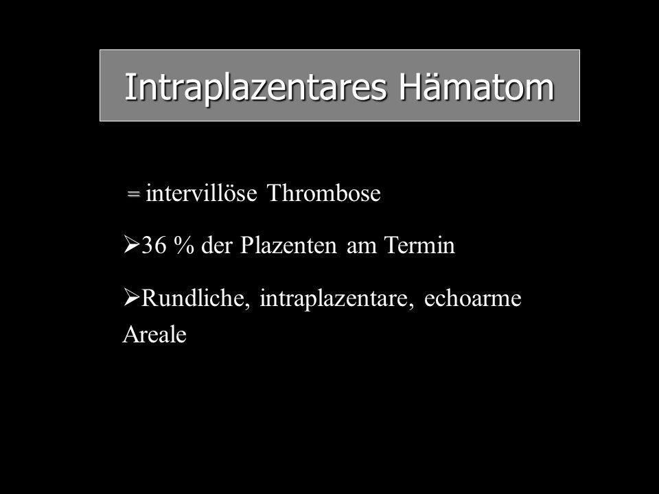 Intraplazentares Hämatom = = intervillöse Thrombose   36 % der Plazenten am Termin   Rundliche, intraplazentare, echoarme Areale