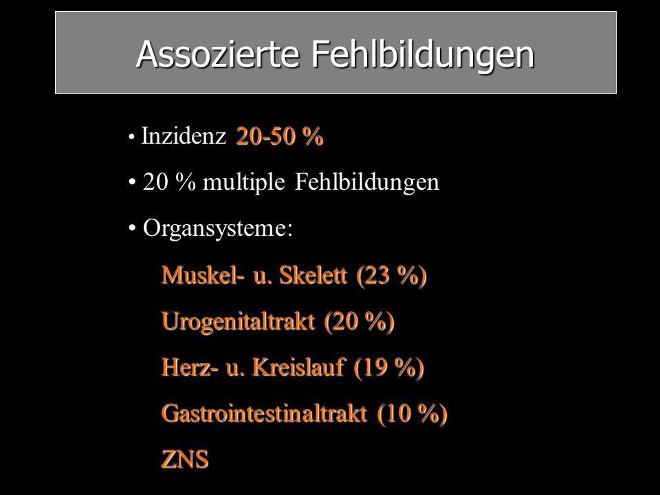 Assozierte Fehlbildungen 20-50 % Inzidenz 20-50 % 20 % multiple Fehlbildungen Organsysteme: Muskel- u. Skelett (23 %) Urogenitaltrakt (20 %) Herz- u.