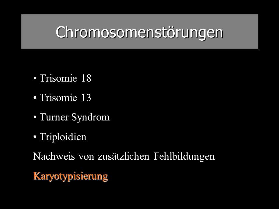 Chromosomenstörungen Trisomie 18 Trisomie 13 Turner Syndrom Triploidien Nachweis von zusätzlichen FehlbildungenKaryotypisierung