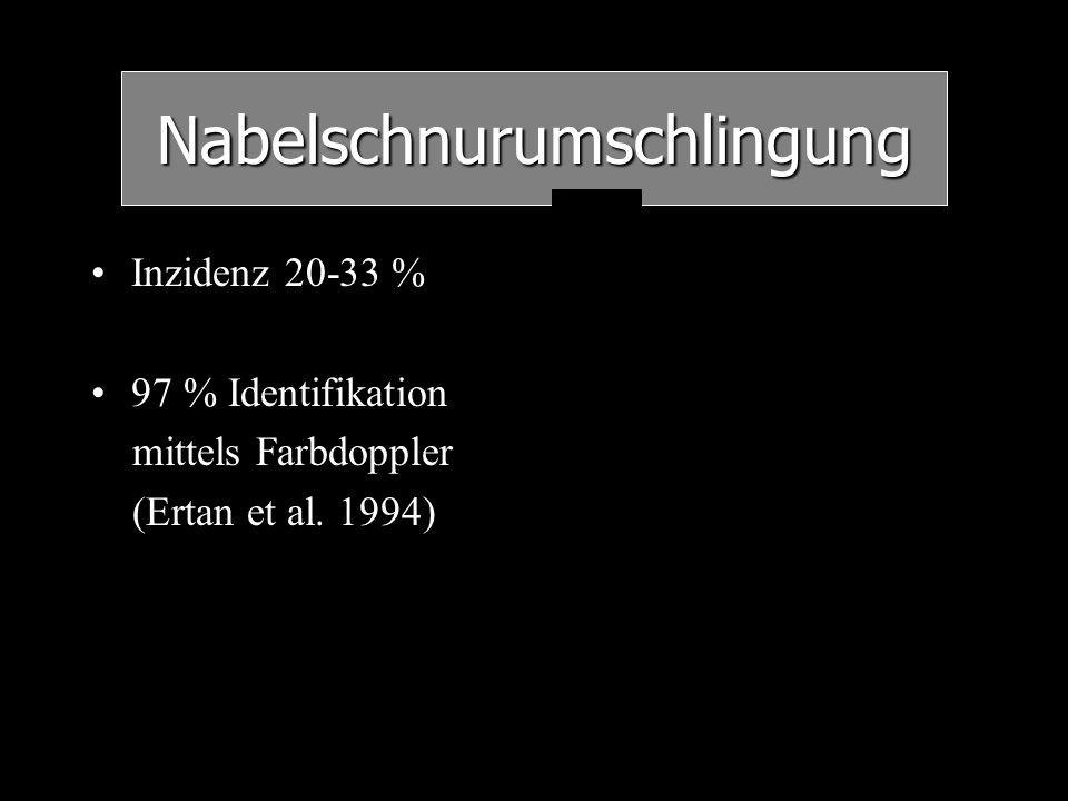 Inzidenz 20-33 % 97 % Identifikation mittels Farbdoppler (Ertan et al. 1994) Nabelschnurumschlingung