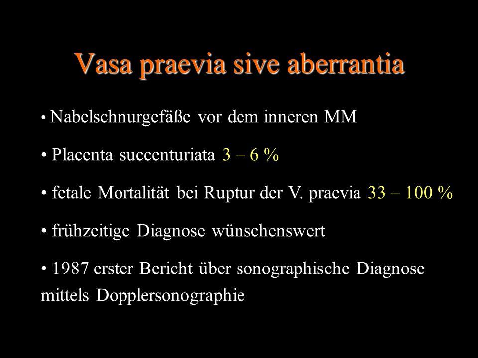 Vasa praevia sive aberrantia Nabelschnurgefäße vor dem inneren MM Placenta succenturiata 3 – 6 % fetale Mortalität bei Ruptur der V. praevia 33 – 100