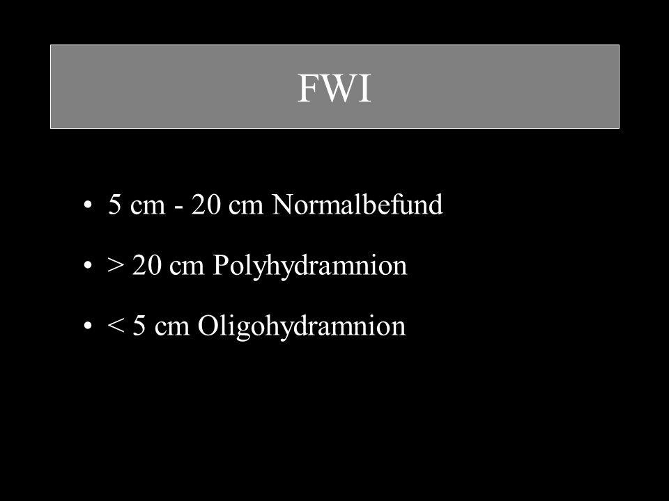 FWI 5 cm - 20 cm Normalbefund > 20 cm Polyhydramnion < 5 cm Oligohydramnion
