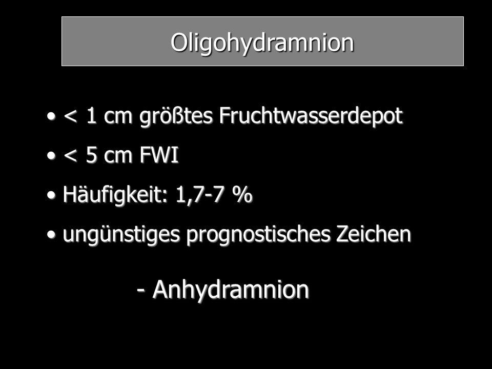 Oligohydramnion < 1 cm größtes Fruchtwasserdepot < 1 cm größtes Fruchtwasserdepot < 5 cm FWI < 5 cm FWI Häufigkeit: 1,7-7 % Häufigkeit: 1,7-7 % ungüns