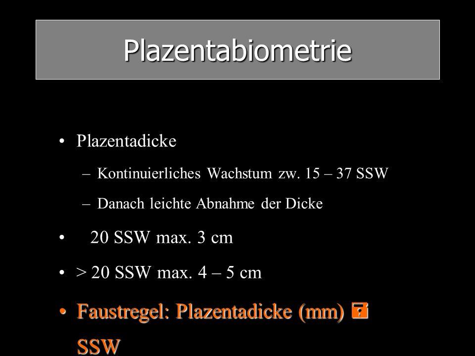 Plazentabiometrie Plazentadicke –Kontinuierliches Wachstum zw. 15 – 37 SSW –Danach leichte Abnahme der Dicke 20 SSW max. 3 cm > 20 SSW max. 4 – 5 cm F