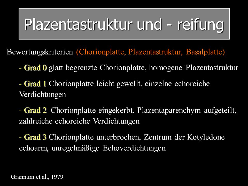 Plazentastruktur und - reifung Bewertungskriterien (Chorionplatte, Plazentastruktur, Basalplatte) -Grad 0 - Grad 0 glatt begrenzte Chorionplatte, homo