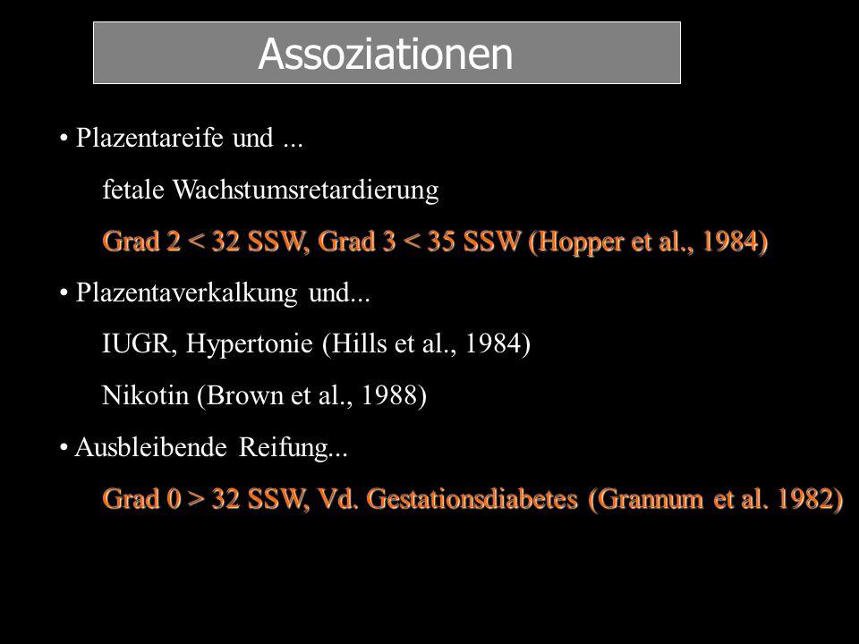 Plazentareife und... fetale Wachstumsretardierung Grad 2 < 32 SSW, Grad 3 < 35 SSW (Hopper et al., 1984) Plazentaverkalkung und... IUGR, Hypertonie (H