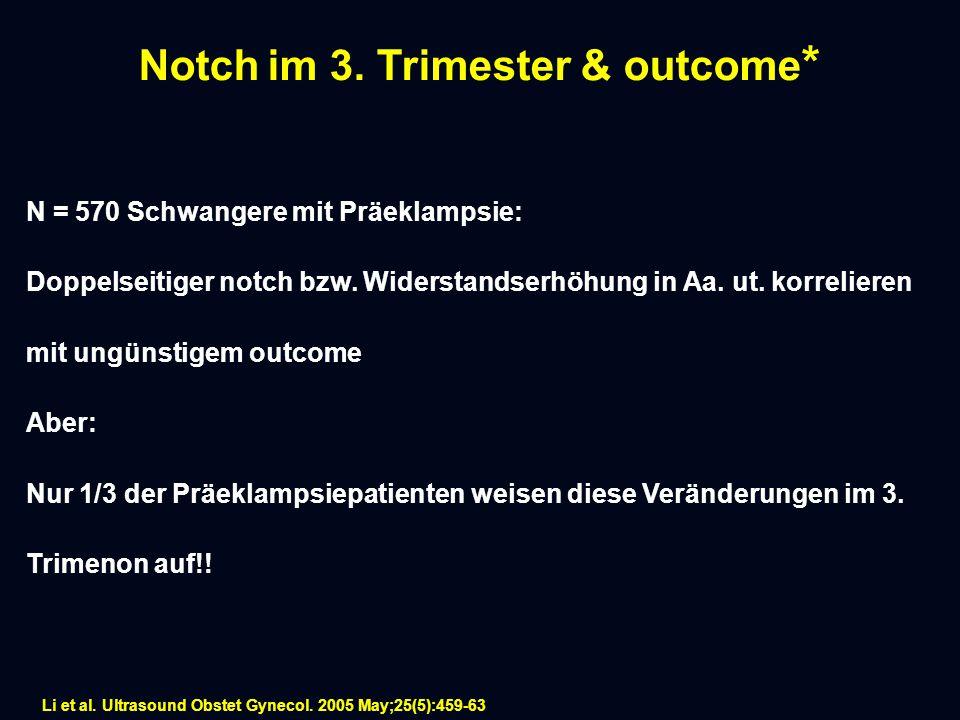 Notch im 3.Trimester & outcome * N = 570 Schwangere mit Präeklampsie: Doppelseitiger notch bzw.