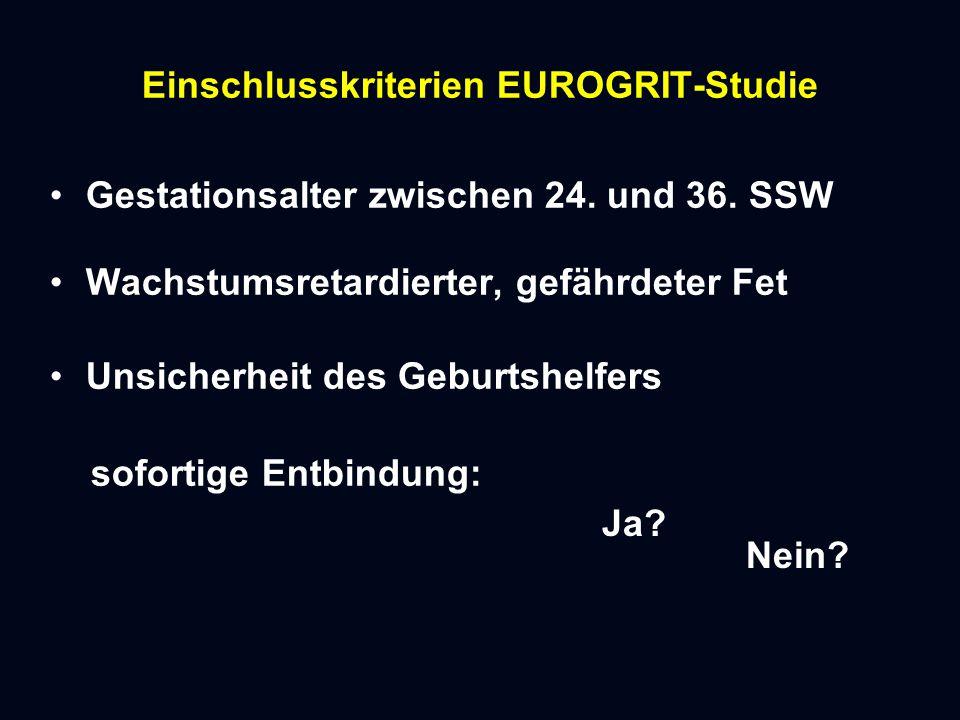 Einschlusskriterien EUROGRIT-Studie Gestationsalter zwischen 24.
