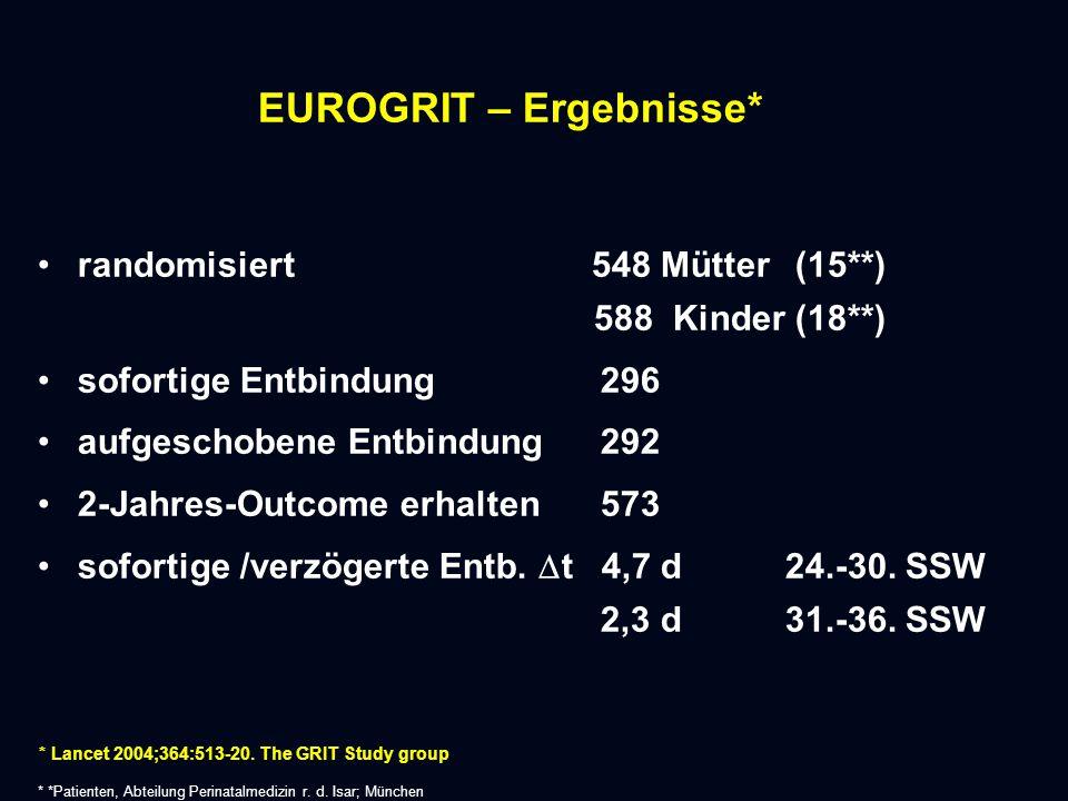 EUROGRIT – Ergebnisse* randomisiert 548 Mütter (15**) 588 Kinder (18**) sofortige Entbindung 296 aufgeschobene Entbindung 292 2-Jahres-Outcome erhalten 573 sofortige /verzögerte Entb.