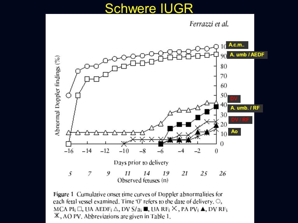 Schwere IUGR A.c.m.. A. umb / AEDF DV A. umb. / RF DV / RF Ao