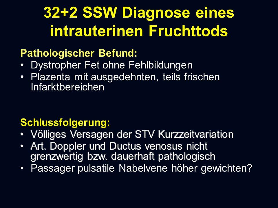 32+2 SSW Diagnose eines intrauterinen Fruchttods