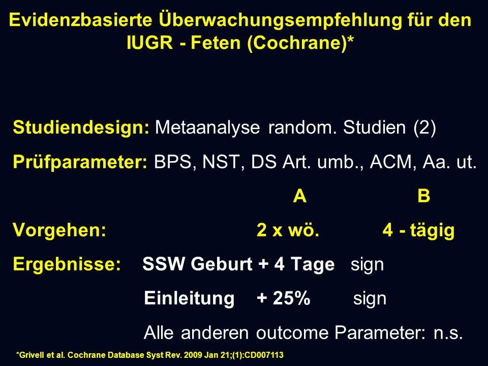 Evidenzbasierte Überwachungsempfehlung für den IUGR - Feten (Cochrane)* Studiendesign: Metaanalyse random.