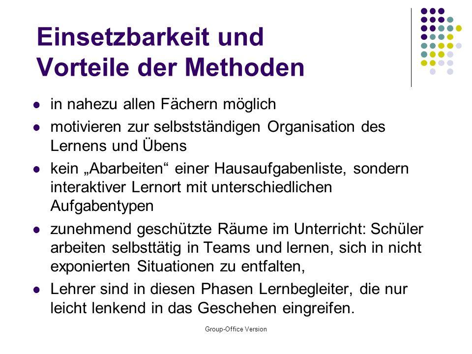 Group-Office Version Methoden kooperatives, selbstorganisiertes Lernen, zur Stärkung der Ich- und Wir-Kompetenz der Schüler (Wochenplanarbeit, Lernzir