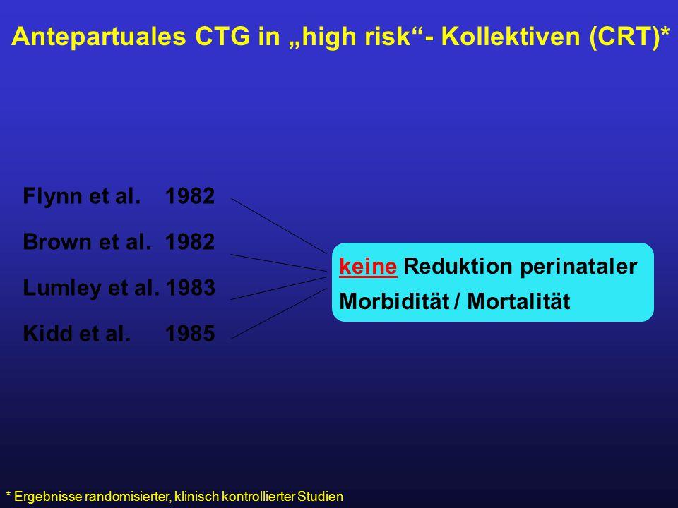 "Antepartuales CTG in ""high risk""- Kollektiven (CRT)* Flynn et al. 1982 Brown et al. 1982 Lumley et al. 1983 Kidd et al. 1985 * Ergebnisse randomisiert"