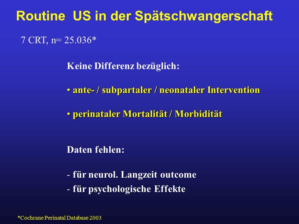 Routine US in der Spätschwangerschaft 7 CRT, n= 25.036* Keine Differenz bezüglich: ante- / subpartaler / neonataler Intervention ante- / subpartaler /