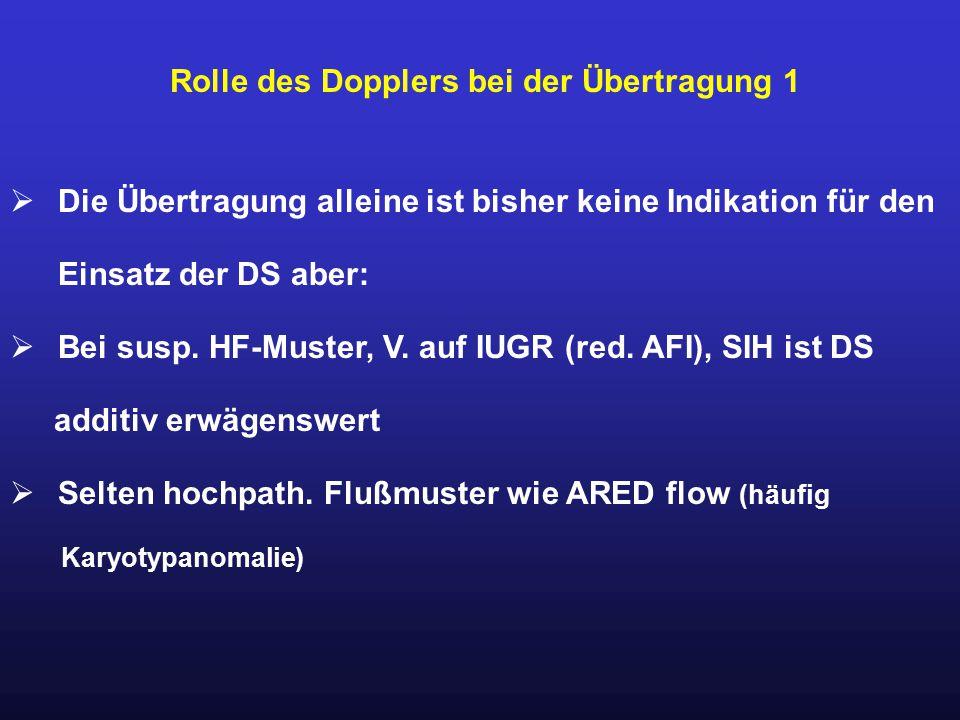 Rolle des Dopplers bei der Übertragung 1  Die Übertragung alleine ist bisher keine Indikation für den Einsatz der DS aber:  Bei susp. HF-Muster, V.