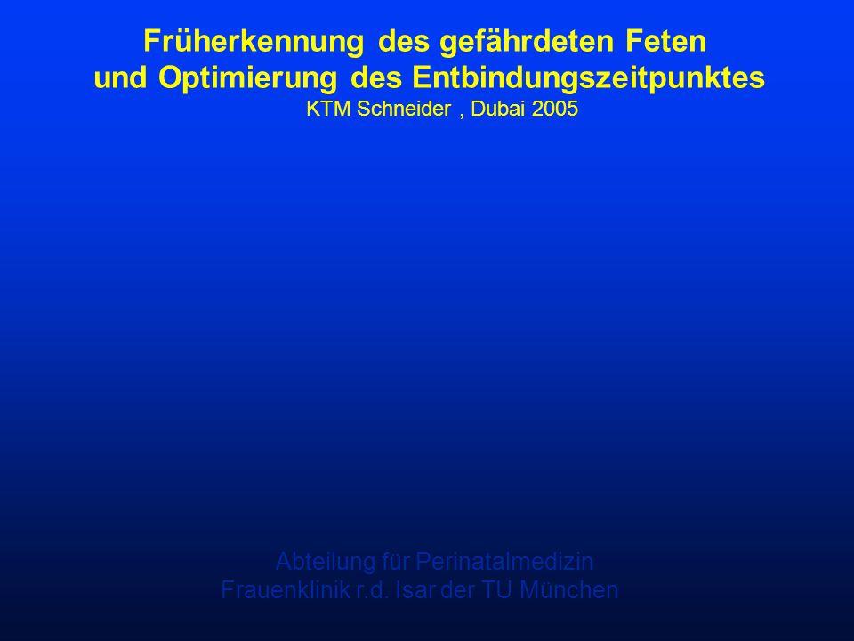 Früherkennung des gefährdeten Feten und Optimierung des Entbindungszeitpunktes KTM Schneider, Dubai 2005 Abteilung für Perinatalmedizin Frauenklinik r