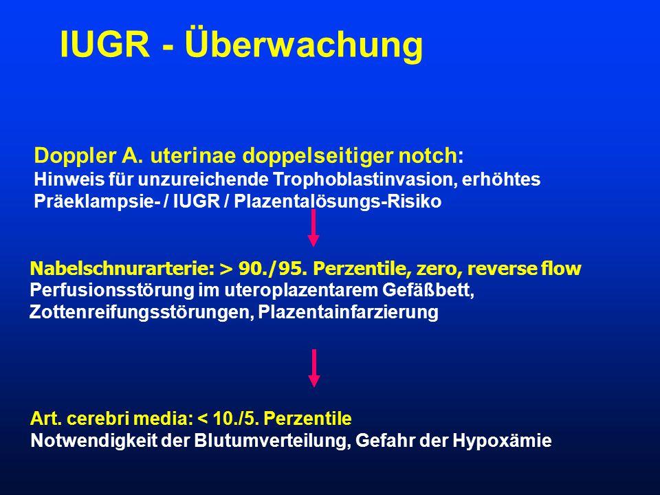 IUGR - Überwachung Doppler A. uterinae doppelseitiger notch: Hinweis für unzureichende Trophoblastinvasion, erhöhtes Präeklampsie- / IUGR / Plazentalö