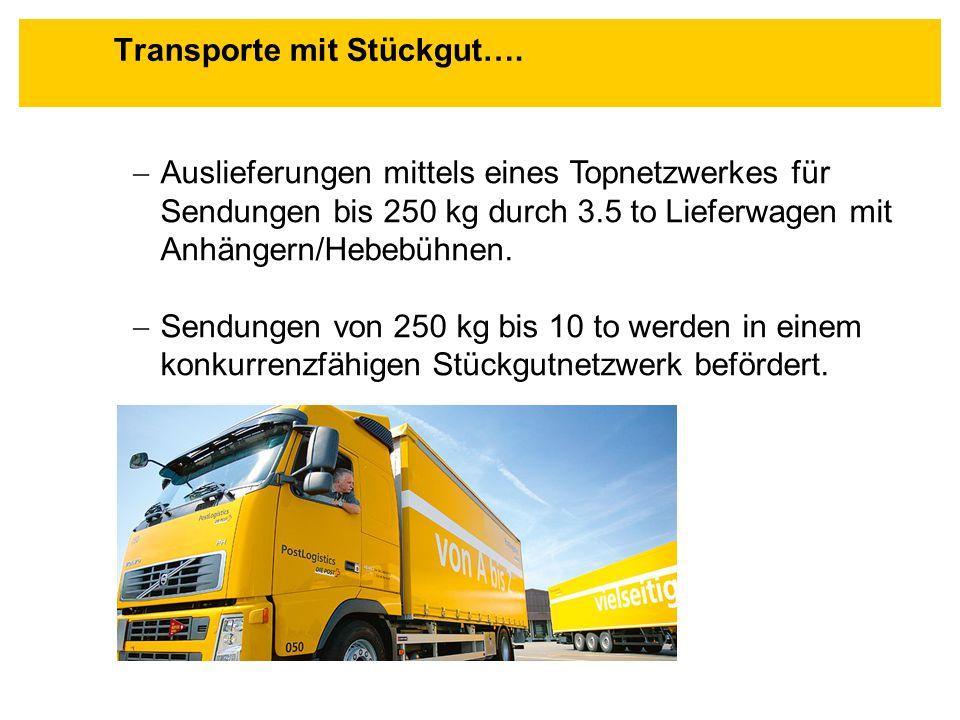  Auslieferungen mittels eines Topnetzwerkes für Sendungen bis 250 kg durch 3.5 to Lieferwagen mit Anhängern/Hebebühnen.  Sendungen von 250 kg bis 10