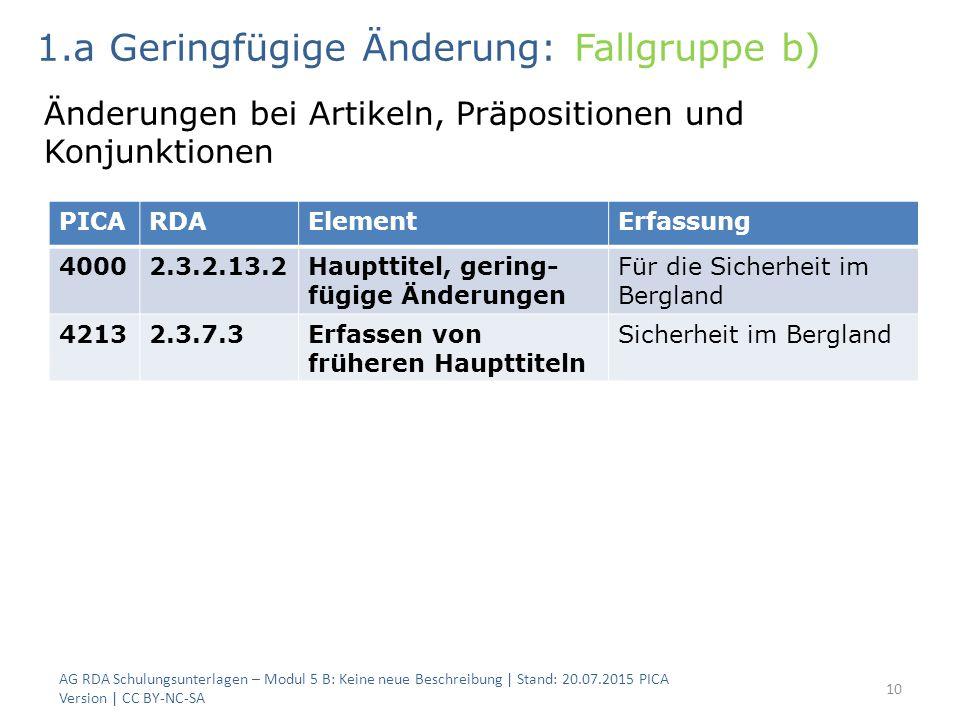 AG RDA Schulungsunterlagen – Modul 5 B: Keine neue Beschreibung | Stand: 20.07.2015 PICA Version | CC BY-NC-SA 10 PICARDAElementErfassung 40002.3.2.13