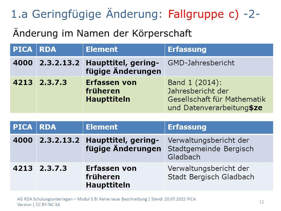 AG RDA Schulungsunterlagen – Modul 5 B: Keine neue Beschreibung | Stand: 20.07.2015 PICA Version | CC BY-NC-SA 12 PICARDAElementErfassung 40002.3.2.13