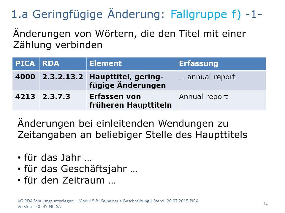 AG RDA Schulungsunterlagen – Modul 5 B: Keine neue Beschreibung | Stand: 20.07.2015 PICA Version | CC BY-NC-SA 14 PICARDAElementErfassung 40002.3.2.13