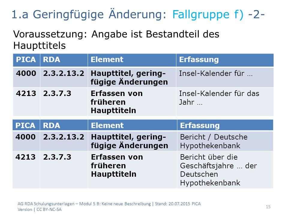 AG RDA Schulungsunterlagen – Modul 5 B: Keine neue Beschreibung | Stand: 20.07.2015 PICA Version | CC BY-NC-SA 15 PICARDAElementErfassung 40002.3.2.13
