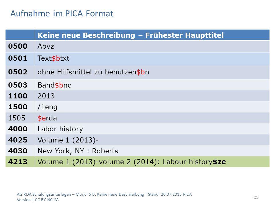 Aufnahme im PICA-Format AG RDA Schulungsunterlagen – Modul 5 B: Keine neue Beschreibung | Stand: 20.07.2015 PICA Version | CC BY-NC-SA 25 Keine neue B