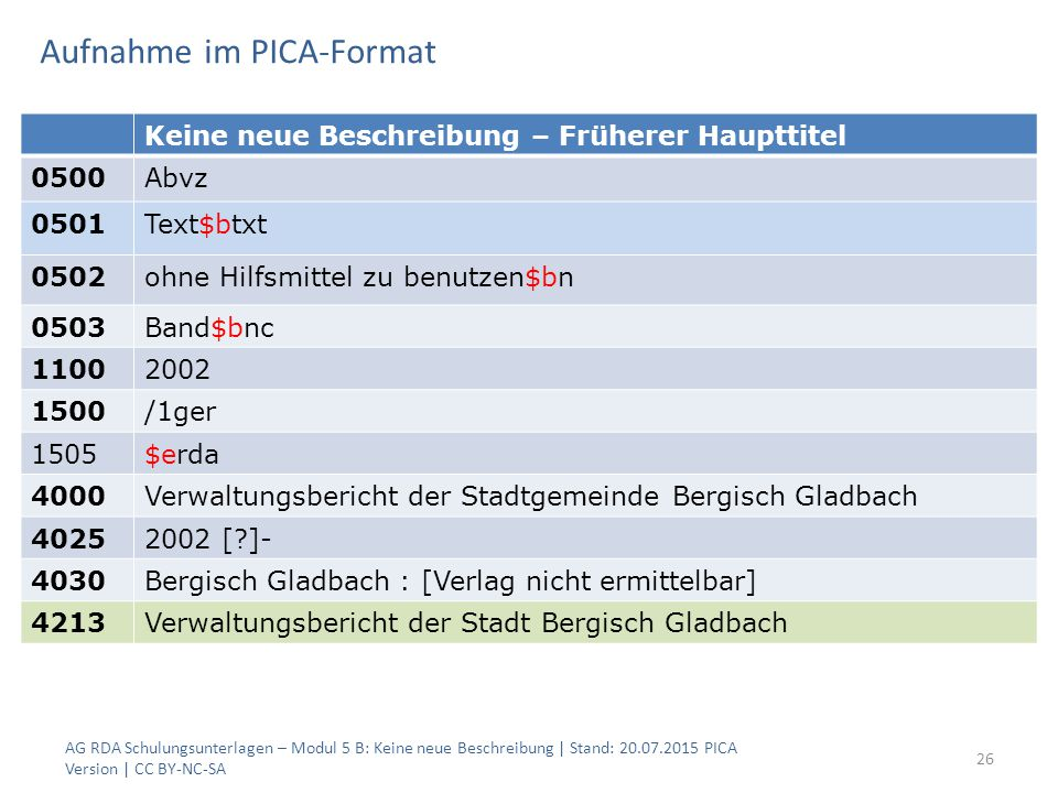 Aufnahme im PICA-Format AG RDA Schulungsunterlagen – Modul 5 B: Keine neue Beschreibung | Stand: 20.07.2015 PICA Version | CC BY-NC-SA 26 Keine neue B