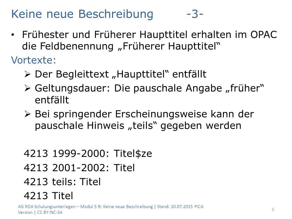 """Keine neue Beschreibung-3- Frühester und Früherer Haupttitel erhalten im OPAC die Feldbenennung """"Früherer Haupttitel"""" Vortexte:  Der Begleittext """"Hau"""