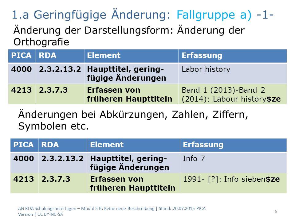 6 PICARDAElementErfassung 40002.3.2.13.2Haupttitel, gering- fügige Änderungen Labor history 42132.3.7.3Erfassen von früheren Haupttiteln Band 1 (2013)
