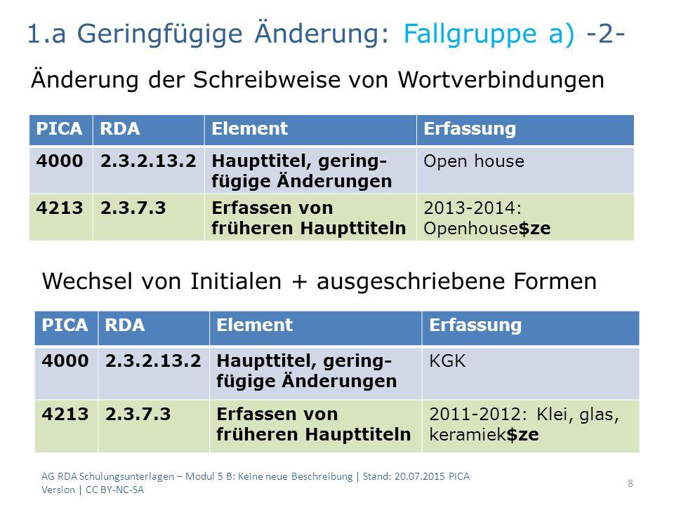 8 PICARDAElementErfassung 40002.3.2.13.2Haupttitel, gering- fügige Änderungen Open house 42132.3.7.3Erfassen von früheren Haupttiteln 2013-2014: Openh
