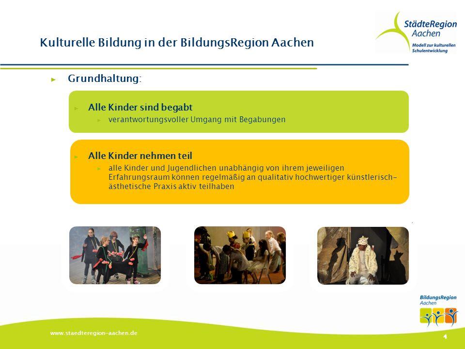 ▶ Schultheatertage (alle 2 Jahre seit 1998) ▶ Bildungszugabe ▶ Aachener Modell zur kulturellen Schulentwicklung ▶ Netzwerk Kulturkoordinatoren www.staedteregion-aachen.de 5 Kulturelle Bildung in der BildungsRegion Aachen: Beispiele