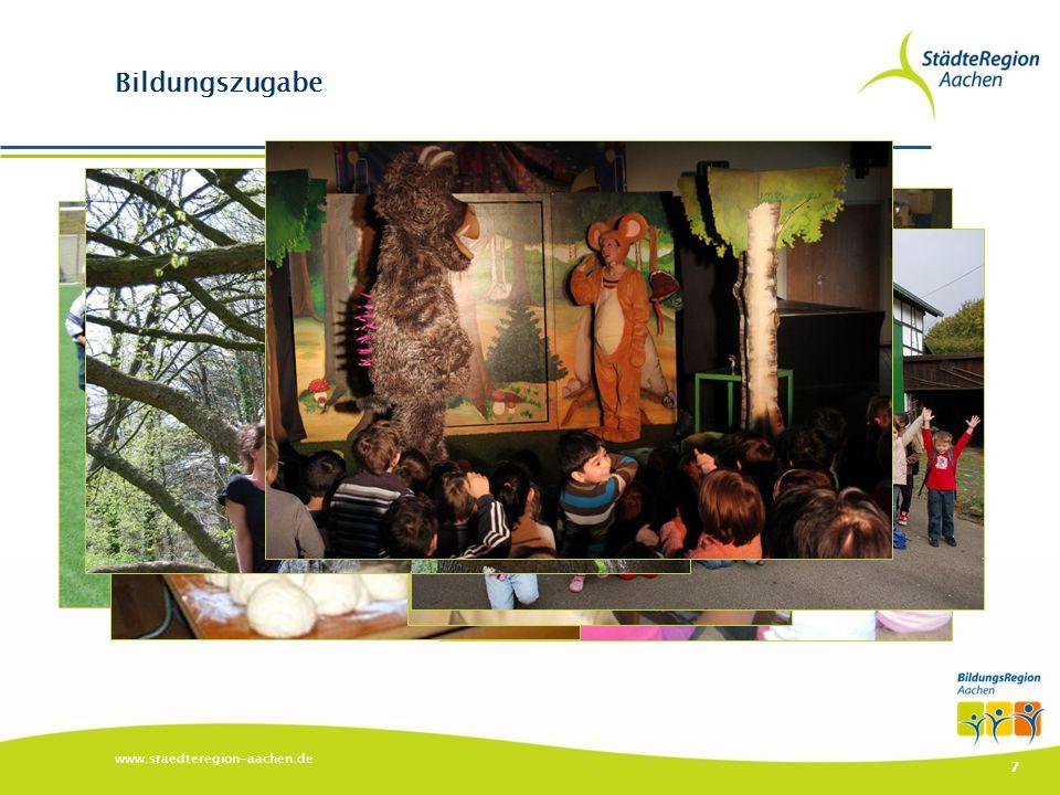 www.staedteregion-aachen.de 8 Bildungszugabe ▶ Über 50 Anbieter mit über 80 Angeboten ▶ Themen: ▶ Kunst & Kultur ▶ MINT & Nachhaltigkeit ▶ Sport Zahlen 2013 ▶ Nutzung durch ca.