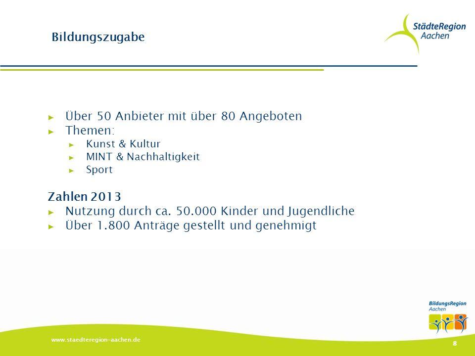 www.staedteregion-aachen.de 8 Bildungszugabe ▶ Über 50 Anbieter mit über 80 Angeboten ▶ Themen: ▶ Kunst & Kultur ▶ MINT & Nachhaltigkeit ▶ Sport Zahle