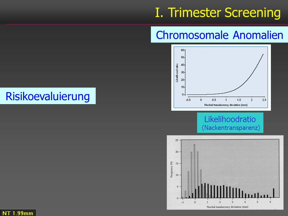 I. Trimester Screening Chromosomale Anomalien Risikoevaluierung Likelihoodratio (Nackentransparenz)