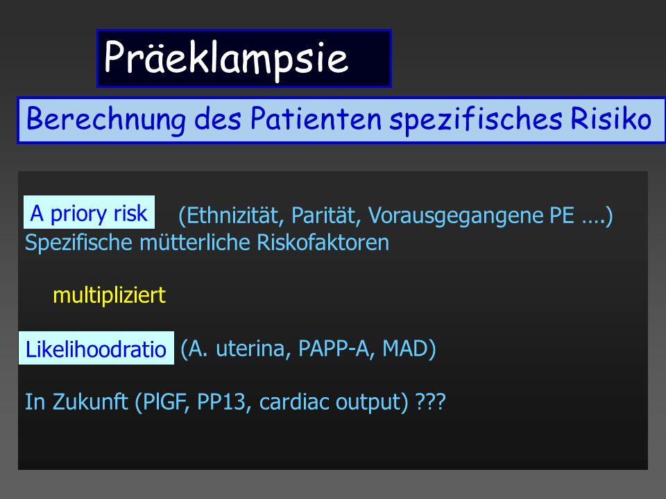 Präeklampsie A priory risk: (Ethnizität, Parität, Vorausgegangene PE ….) Spezifische mütterliche Riskofaktoren multipliziert Likelihoodratio (A. uteri