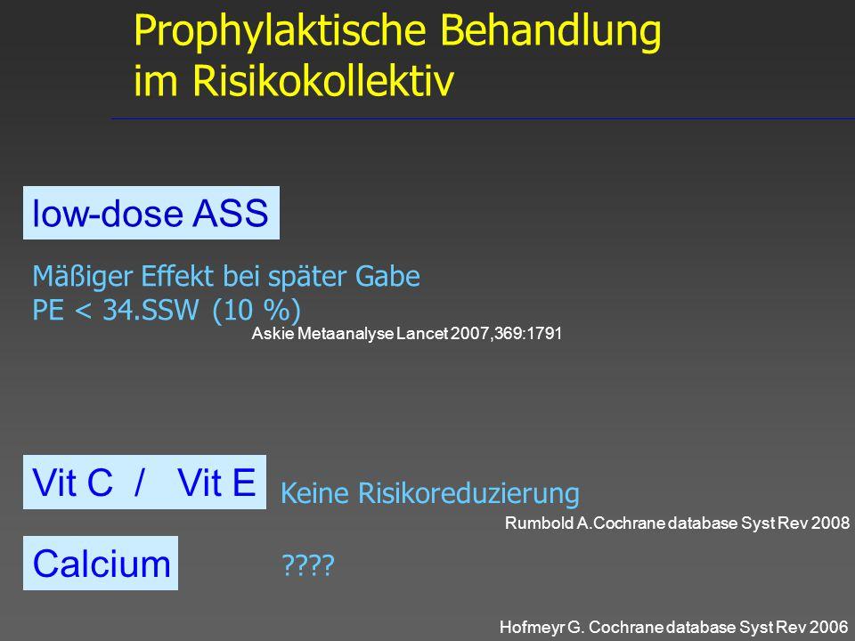 Mäßiger Effekt bei später Gabe PE < 34.SSW (10 %) low-dose ASS Vit C / Vit E Calcium Hofmeyr G. Cochrane database Syst Rev 2006 ???? Rumbold A.Cochran