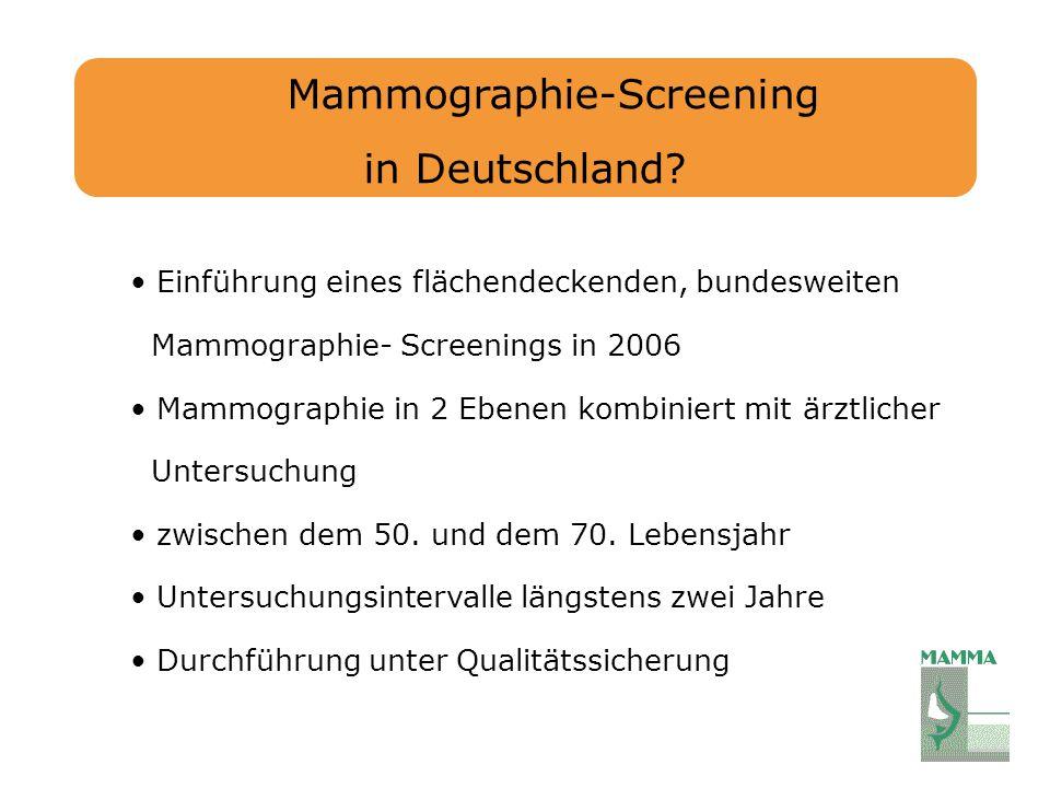 Mammographie-Screening in Deutschland? Einführung eines flächendeckenden, bundesweiten Mammographie- Screenings in 2006 Mammographie in 2 Ebenen kombi