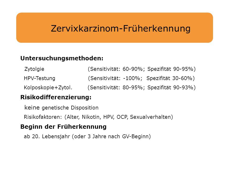 Zervixkarzinom-Früherkennung Untersuchungsmethoden: Zytolgie (Sensitivität: 60-90%; Spezifität 90-95%) HPV-Testung (Sensitivität: -100%; Spezifität 30
