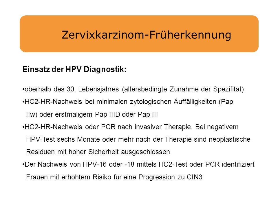 Zervixkarzinom-Früherkennung Einsatz der HPV Diagnostik: oberhalb des 30. Lebensjahres (altersbedingte Zunahme der Spezifität) HC2-HR-Nachweis bei min
