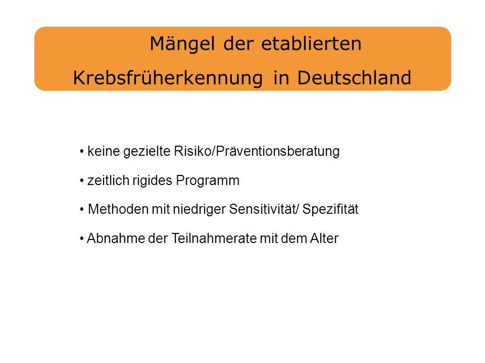 Mängel der etablierten Krebsfrüherkennung in Deutschland keine gezielte Risiko/Präventionsberatung zeitlich rigides Programm Methoden mit niedriger Se