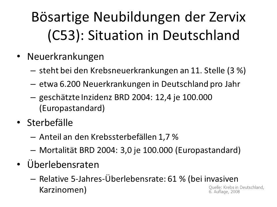 Bösartige Neubildungen der Zervix (C53): Situation in Deutschland Neuerkrankungen – steht bei den Krebsneuerkrankungen an 11. Stelle (3 %) – etwa 6.20