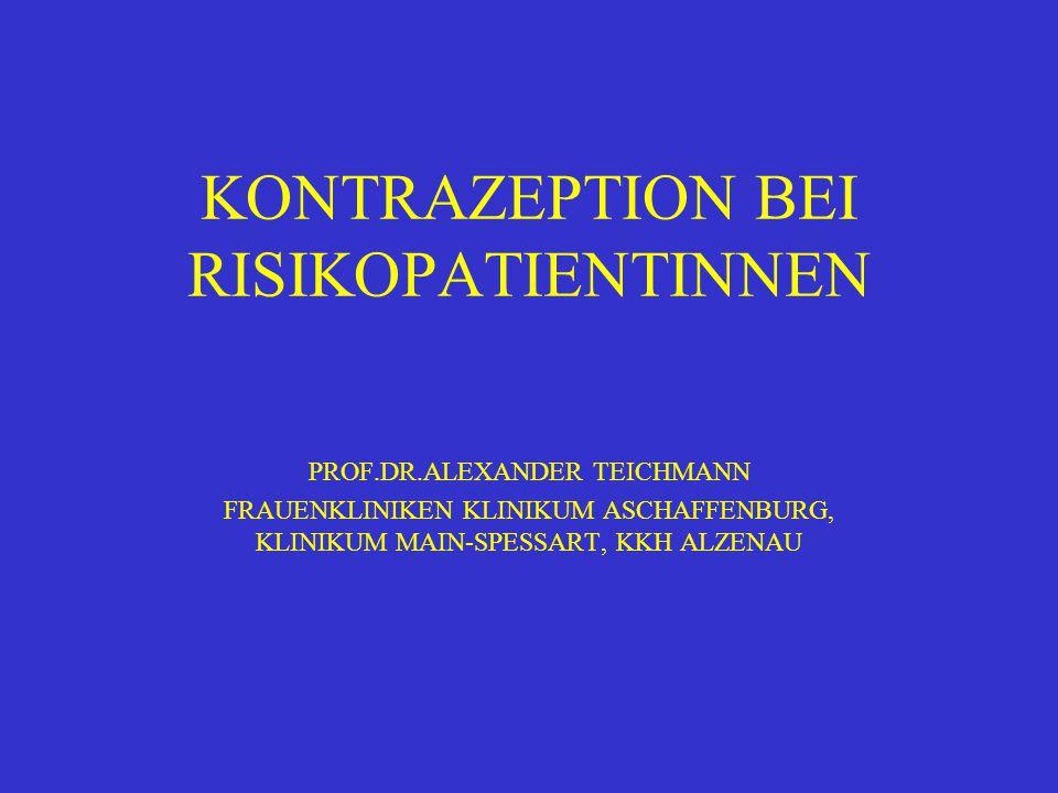 KONTRAZEPTION UND OPERATIONEN NUR VOR GROSSEN EINGRIFFEN ABSETZEN VON OH (ORTHOPÄDISCHE, TRAUMATOLOGISCHE, ABDOMINALCHIRURGISCHE Ops) WENN MÖGLICH 6 WOCHEN VOR OP, SONST EINNAHME FORSETZEN UNTER THROMBOSEPROPHYLAXE WIEDEREINSETZEN DER OH 2 WOCHEN POSTOP.