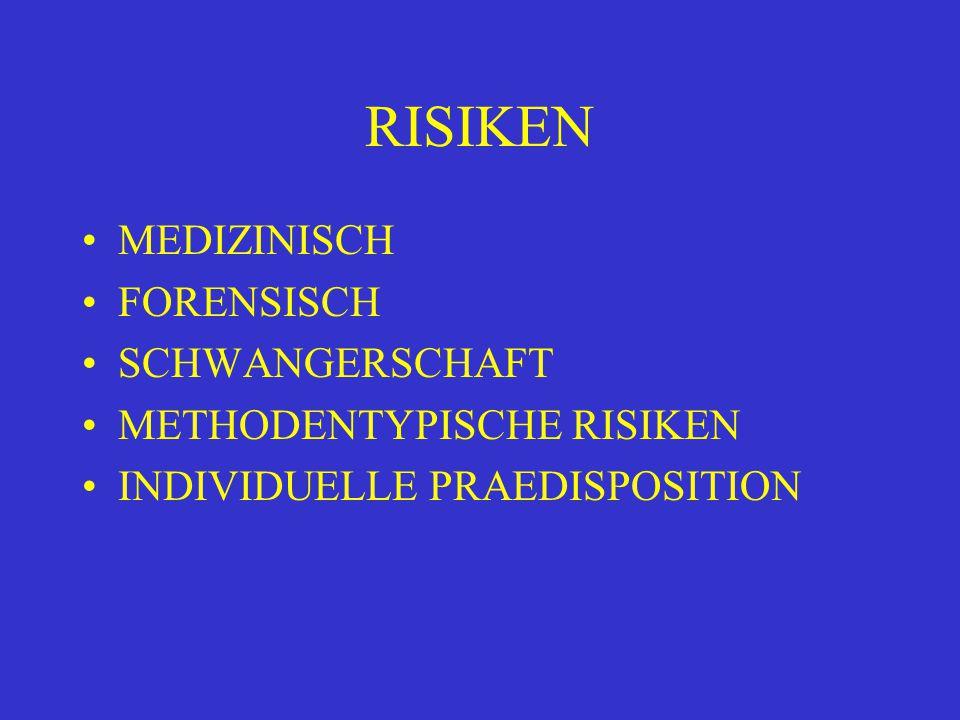 RISIKEN MEDIZINISCH FORENSISCH SCHWANGERSCHAFT METHODENTYPISCHE RISIKEN INDIVIDUELLE PRAEDISPOSITION